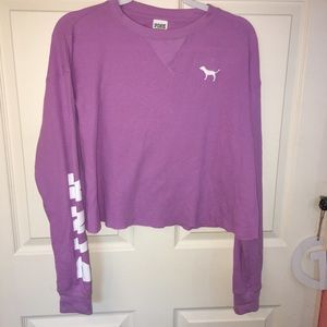 Cropped Long Sleeve Pink Tee